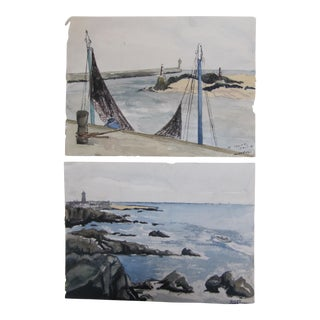 Vintage Watercolor Paintings of France - A Pair
