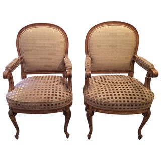 French Carved Walnut Upholstered Armchairs - A Pair