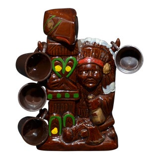 Indian Chief and Totem Pole Decanter & Glasses - Set of 5