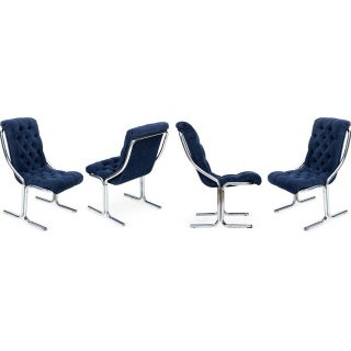 Vintage Navy Chrome Chairs - Set of 4