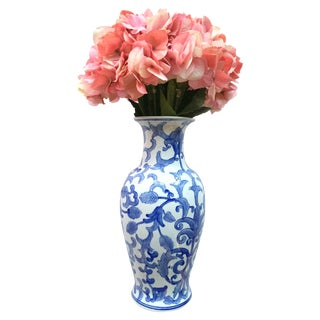 Large Blue & White Vase with Silk Hydrangeas