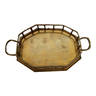 Vintage Brass Bamboo Octagonal Tray