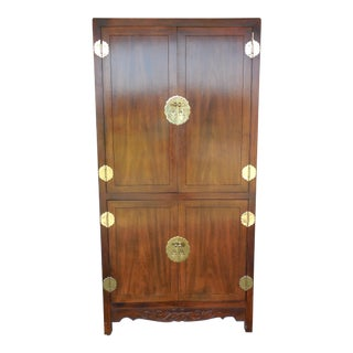 HENREDON Asian Campaign Style Walnut Armoire Chest Linen Press 5-8102