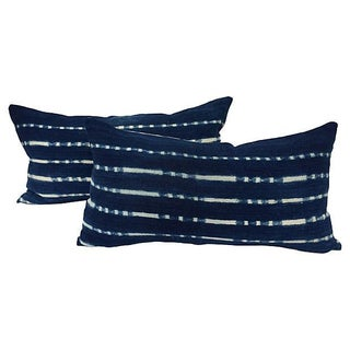 African Indigo Tye-Dye Striped Pillows - A Pair