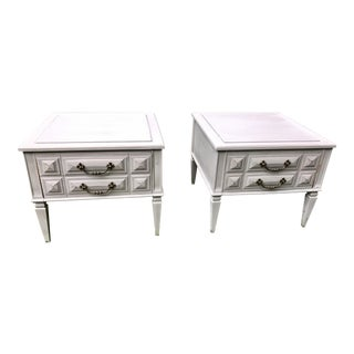 French Provincial Regency Mid-Century Modern Fusion Nightstands - A Pair