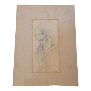 Mid-Century Signed Original Artist Sketch, 1967