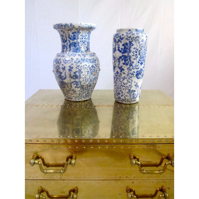 Image of Blue and White Porcelain Chinese Vases - Pair
