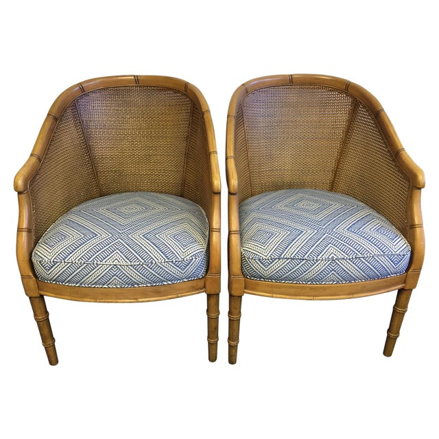 Image of Vintage Cane & Faux Bamboo Chairs - A Pair