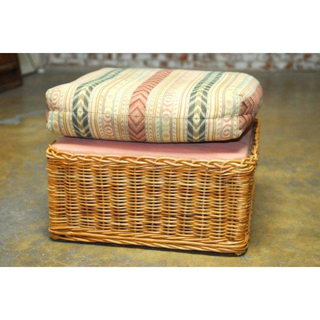 Michael Taylor Inspired Wicker Lounge Chair and Ottoman - Image 9 of 11