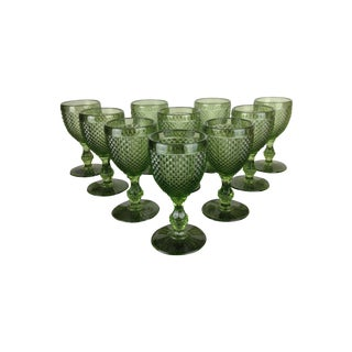 Green Pressed Glass Goblets - Set of 10