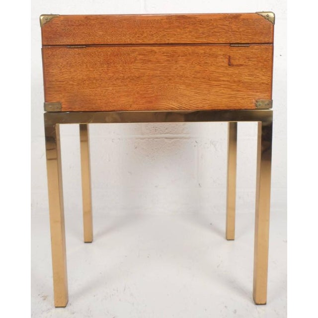 Mid-Century Modern Single Drawer Campaign Style Stand - Image 6 of 11