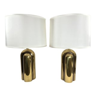 Vintage 1978 Westwood Brass Art Deco Lamps - a Pair