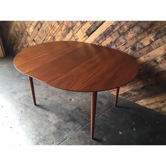 mid century modern round walnut refinished dining table chairish. Black Bedroom Furniture Sets. Home Design Ideas