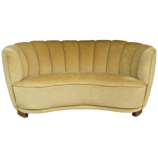Danish 1940s Banana Form Sofa in Gold Mohair