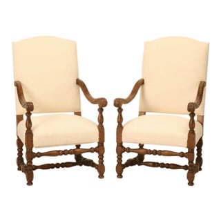 French Pair of Armchairs or Throne Chairs