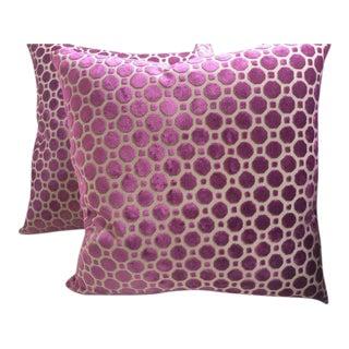 "Magenta ""Geo"" Design Pillows - a Pair"