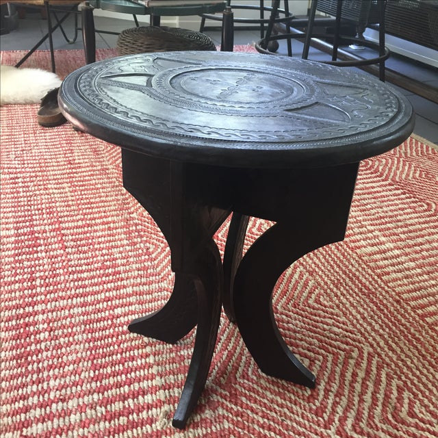 Leather Tooled Side Table in Moroccan Style - Image 3 of 6