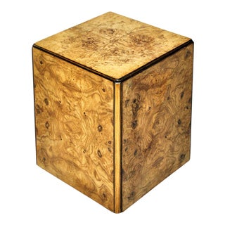 Burl Wood Rolling Side Table