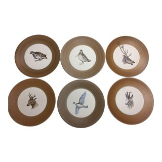 Marcel Guillard Naturalistic Hand Painted French Pottery Plates- Set of 8