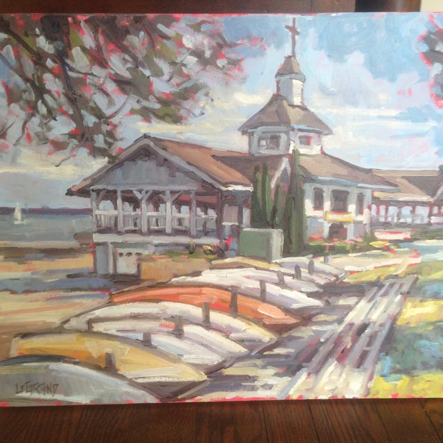 "Bright, Multicolored ""Lakeside Pavilion"" Original Oil Painting - Image 4 of 11"