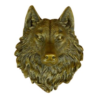 Bronze Wall Mount Cast Wolf Head Sculpture