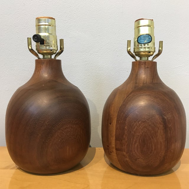 Solid Wood Lamps - a Pair - Image 2 of 5