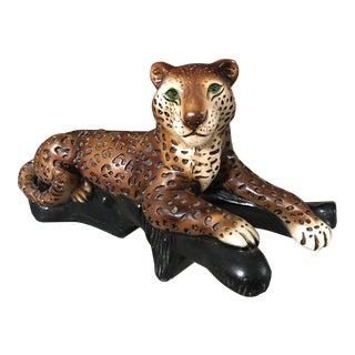 Lying Leopard Chalk Statue