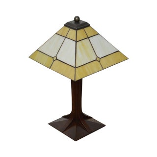 Stickley Mission Oak Collection Small Corbel Base Lamp w/ Art Glass Shade