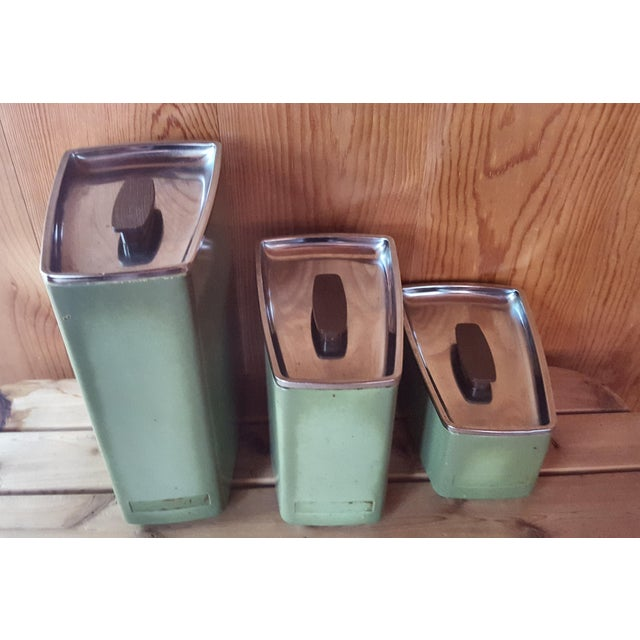 Vintage Avocado Green Kitchen Canister - Set of 3 - Image 2 of 7