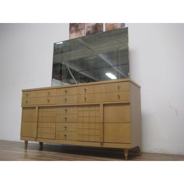 Mid-Century Light Wood Dresser with Mirror - Image 5 of 8