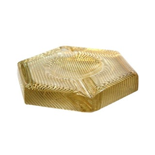 Vintage Gold Pressed Glass Ashtray
