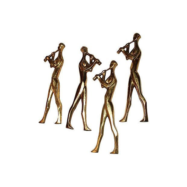 Mid-Century Brass Musicians Wall Hangings - 4 - Image 7 of 8