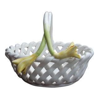Cottage Style White Ceramic Basket