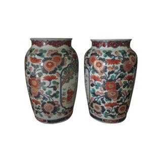 Floral Imari Vases - A Pair