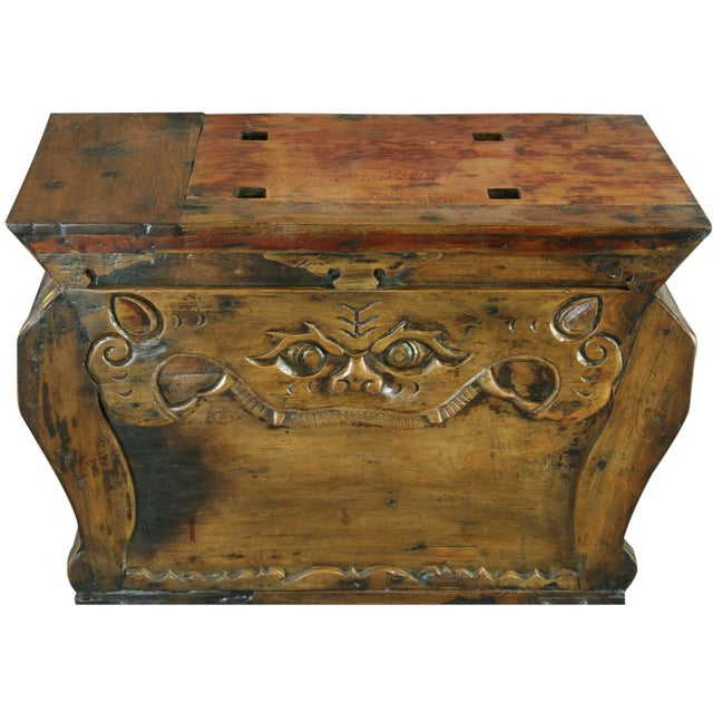 Antique chinese trunk box coffee table carved chairish for Asian trunk coffee table