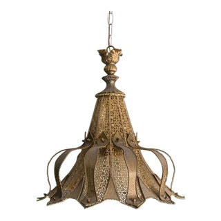 Mid-Century Middle Eastern Brass Light Fixture