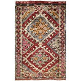Vintage Turkish Kilim Sofreh - 3'5'' x 5'1''