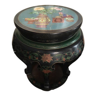 Cloisonne Chinoiserie Wood Stool
