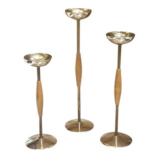 1950's Mid-Century Modern Danish Teak & Brass Plate Candle Holders - Set of 3
