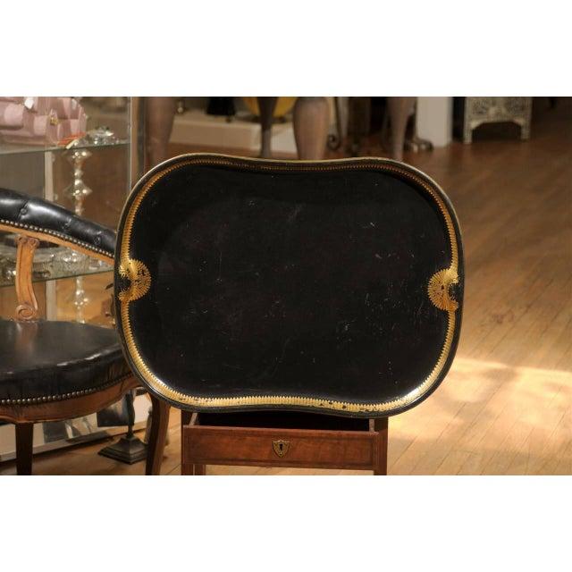 Vintage Regency English Black & Gilt Tole Tray - Image 2 of 6