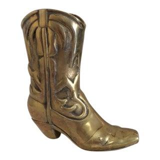 Vintage Brass Western Boot Vase