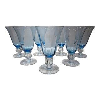 Elegant Blue Beverage Goblets - Set of 7