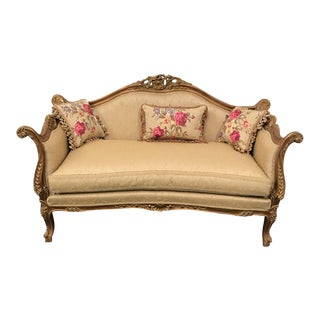 French Style Handmade Natural Wood Gilded Sofa
