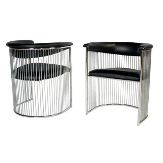 Platner Style Chrome & Black Vinyl Chairs - A Pair