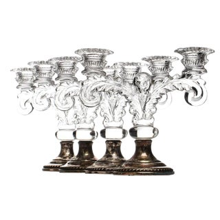 Sheffield Silver Co. Weighted Sterling & Glass Candelabras - Set of 4