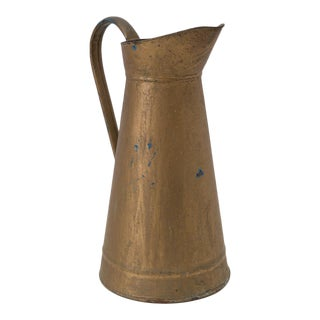 Old French Enamelware Gold Over Blue Pitcher