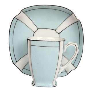 Noritake Art Deco Blue & White Porcelain Cup & Saucer
