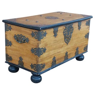 Antique Trunk with Ornate Iron Hardware