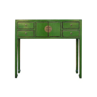Chinese Distressed Bright Green Narrow Slim Foyer Side Table
