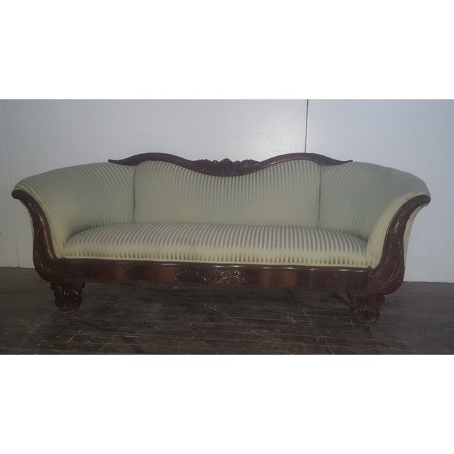 Antique Mint Green Striped Mahogany Sofa Chairish